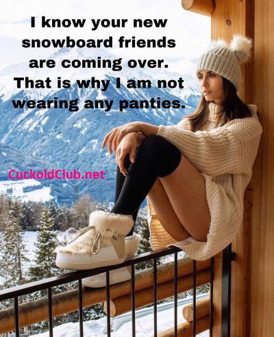 Pantyless Hotwife in Winter for Snowboard Friends
