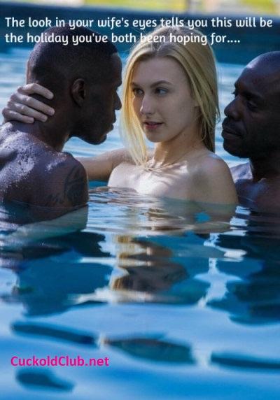 Wife Seducing Two Black Man in Pool