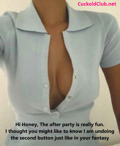 Wife undoing buttons in after party