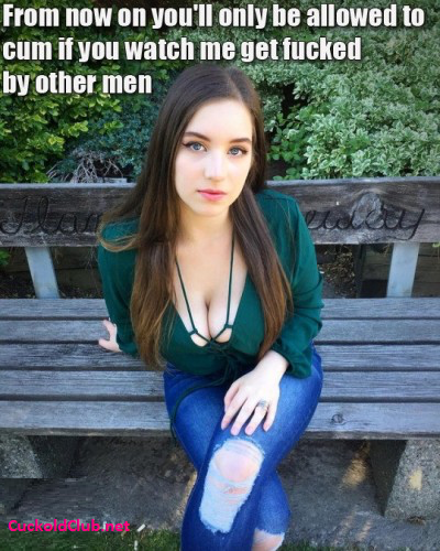 The Best Conditional Cuckold Denial: Cuckold can cum only if he watches caption