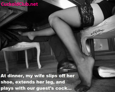 Hotwife Playing with Guests Cock at Dinner