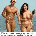 6 Chastity Captions - Vacation on Nude Beach