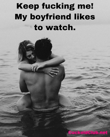 Hotwife fucking in the sea while boyfriend watches caption